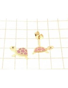 ORECCHINI BIMBA - Orecchini Oro Giallo 18 kt Carati Ct 750 0,50 Gr Tartaruga Bimba Bambina Donna