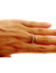 ANELLI ORO BIANCO - Anello Donna Oro Bianco 18 KT Carati Ct 750 Gr 3,70 Zirconi Taglio Brillante