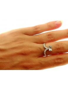 ANELLI ORO BIANCO - Anello Donna Oro Bianco 18 KT Carati Ct 750 Gr 4,50 Zirconi Taglio Brillante