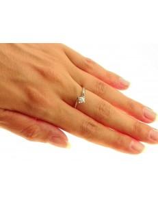 ANELLI DIAMANTI - Anello Solitario Diamante  0,31 Ct Valentino Oro Bianco 18 kt Carati 750 2,90 Gr