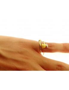 ANELLI BIMBI - Anello Bimba Bambina Oro Giallo 18 KT Carati Ct 750 Gr 1,60 Orsetto