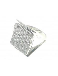 ANELLI ORO BIANCO - Anello Donna Oro Bianco 18 KT Carati Ct 750 Gr 7,20 Zirconi Taglio Brillante