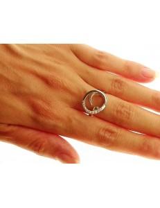 ANELLI ORO BIANCO - Anello Donna Oro Bianco 18 KT Carati Ct 750 Gr 5,30 Zirconi Taglio Brillante