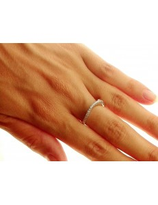 ANELLI ORO BIANCO - Anello Donna Oro Bianco 18 KT Carati Ct 750 Gr 3,80 Zirconi Taglio Brillante