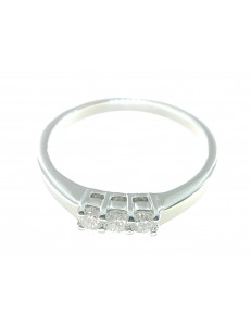 ANELLI DIAMANTI - Anello Donna Trilogy Diamanti Oro Bianco 18 kt Carati 750 Kt 0,19 H-IF