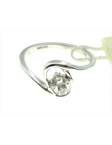 ANELLI DIAMANTI - Anello Donna Diamanti Oro Bianco 18 kt Carati 750 3,65 Gr 0,05 CT H IF