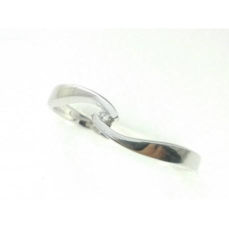 ANELLI DIAMANTI - Anello Diamante Ct 0,02 Donna Solitario Oro Bianco 18 Kt Carati Ct 750 Gr 2,40