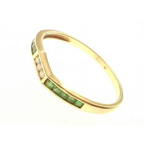 ANELLI DIAMANTI - Anello Donna Diamanti H IF e Smeraldi Oro Giallo 18 kt Carati Ct 750 2,0 Gr