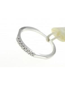 ANELLI DIAMANTI - Anello Donna Veretta Oro Bianco 18 Kt Carati 750 Diamanti 0,06 Ct