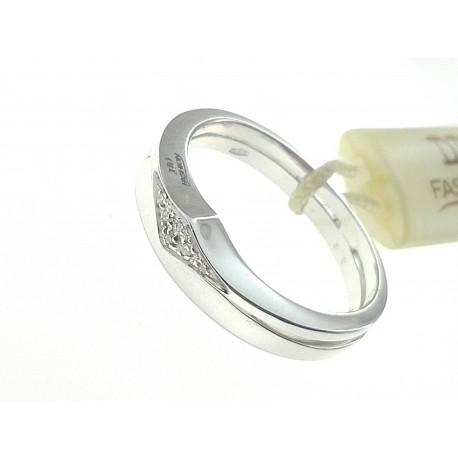ANELLI DIAMANTI - Anello Diamante 0,03 Ct H IF Donna Oro Bianco 18 Kt Carati 750 Gr 5,40