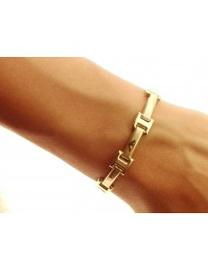 BRACCIALI UNISEX - Bracciale Braccialetto Uomo Donna Oro Giallo Bianco 18 Kt Carati Ct 750 9,0 Gr
