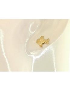 ORECCHINI BIMBA - Orecchini Donna Bimba Bambina Pesciolino Oro Giallo 18 kt Carati Ct 750 1,60 Gr