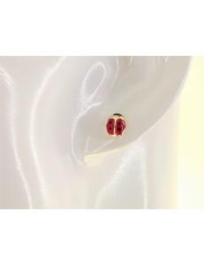 ORECCHINI BIMBA - Orecchini Oro Giallo 18 kt Carati Ct 750 0,60 Gr Coccinella Bimba Bambina Donna