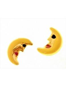 ORECCHINI BIMBA - Orecchini Donna Bimba Bambina Luna Oro Giallo 18 kt Carati Ct 750 1,40 Gr