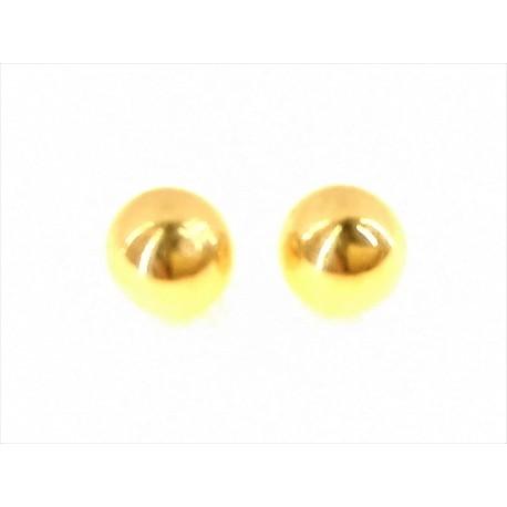 ORECCHINI ORO GIALLO - Orecchini Pallina Donna Oro Giallo 18 KT Ct Carati 750 1,50 Gr