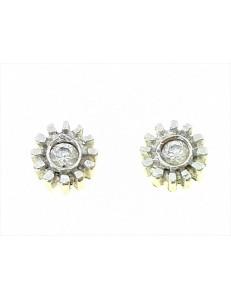 ORECCHINI ORO BIANCO - Orecchini Punto Luce Donna Oro Bianco 18 Kt Carati Ct 750 Gr 1,40 Zirconi