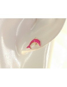 ORECCHINI BIMBA - Orecchini Donna Bimba Bambina Oro Giallo 18 kt Carati Ct 750 0,85 Gr Delfini