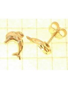 ORECCHINI BIMBA - Orecchini Donna Bimba Bambina Oro Giallo 18 kt Carati Ct 750 1,05 Gr Delfini