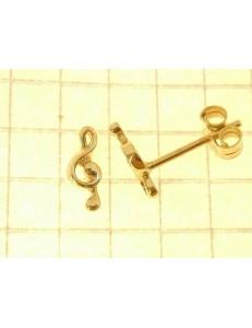 ORECCHINI ORO GIALLO - Orecchini Donna Bambina Oro Giallo 18 kt Carati Ct 750 0,95 Gr Chiave Violino