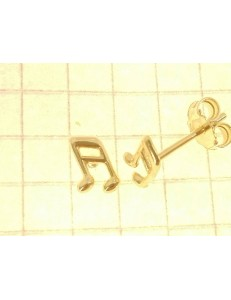 ORECCHINI ORO GIALLO - Orecchini Donna Bambina Oro Giallo 18 kt Carati Ct 750 0,85 Gr Nota Musicale