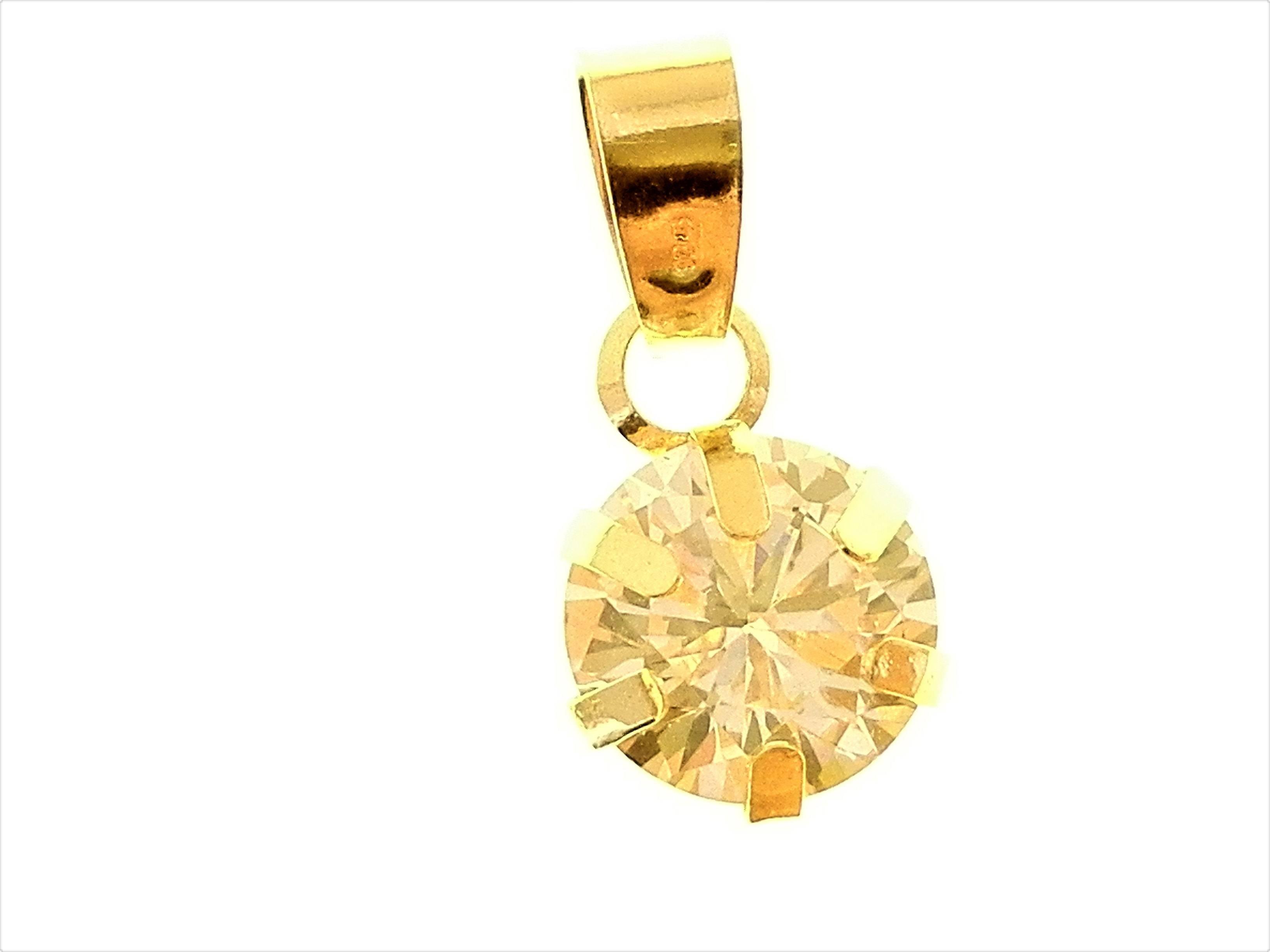 Ciondolo Pendente Donna Oro Giallo 18 Kt Carati Ct 750 Punto Luce Solitario