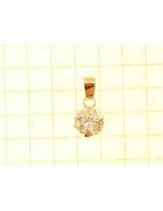 PENDENTI ORO GIALLO - Ciondolo Pendente Donna Oro Giallo 18 Kt Carati Ct 750 Punto Luce Solitario