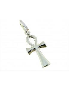 CROCI E SACRI ORO BIANCO - Ciondolo Pendente Croce Egizia Uomo Donna Oro Bianco 18 Kt Carati 750 0,55 Gr