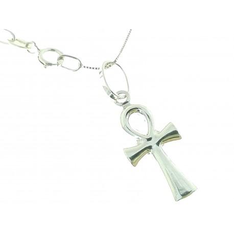 COLLANE UNISEX - Collana Catenina Croce Egizia Uomo Donna Oro Giallo 18 kt Carati Ct 750 1,25 Gr