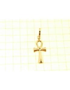 PENDENTE CROCE EGIZIA -  Uomo Donna Oro Giallo 18 Kt Carati 750 0,55 Gr