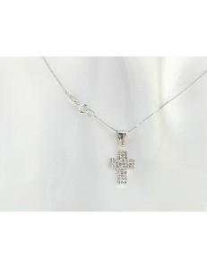 COLLANE ORO BIANCO - Collana Catenina Girocollo Croce Donna Oro Bianco 18 Kt Carati Ct 750 1,20 Gr
