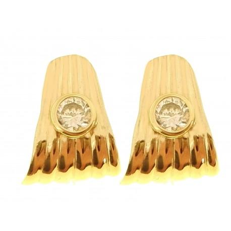 ORECCHINI ORO GIALLO - Orecchini Donna Punto Luce Oro Giallo 18 kt Carati Ct 750 2,90 Gr Zirconi