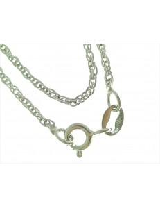 Collana 42,5 Cm Singapore Oro Bianco 18 Kt Carati Ct 750 3,20 Gr Donna