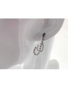 ORECCHINI ORO BIANCO - Orecchini  Donna Oro Bianco 18 Kt Carati Ct 750 Gr 5,30 Zirconi Taglio Brillante