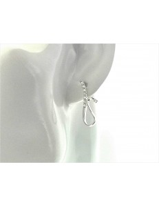 ORECCHINI ORO BIANCO - Orecchini Donna Oro Bianco 18 kt Carati Ct 750 3,60 Gr
