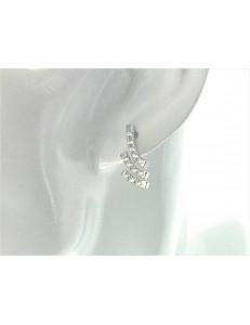ORECCHINI ORO BIANCO - Orecchini Donna Oro Bianco 18 kt Carati Ct 750 3,60 Gr Zirconi Taglio Brillante