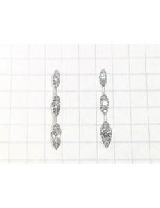 ORECCHINI ORO BIANCO - Orecchini Donna Trilogy Zirconi Taglio Brillante Oro Bianco 18 kt Carati Ct 750