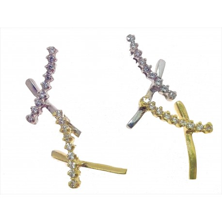 ORECCHINI ORO BIANCO - Orecchini Donna Oro Bianco Giallo 18 kt Carati Ct 750 Zirconi Taglio Brillante