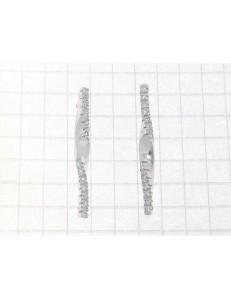 ORECCHINI ORO BIANCO - Orecchini Donna Oro Bianco 18 kt Carati Ct 750 3,90 Gr Zirconi Taglio Brillante