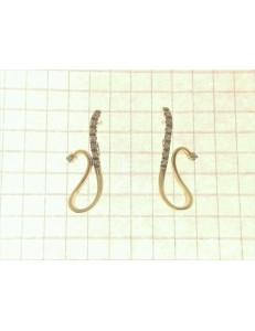 ORECCHINI ORO GIALLO - Orecchini Donna Oro Giallo 18 kt Carati Ct 750 3,70 Gr Zirconi Taglio Brillante