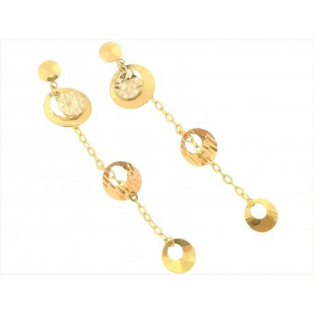 ORECCHINI ORO GIALLO - Orecchini Donna Oro Giallo Bianco 18 kt Carati Ct 750 2,40 Gr Pendenti