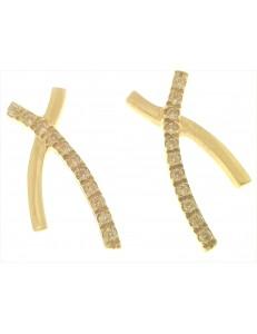 ORECCHINI ORO GIALLO - Orecchini Donna Oro Giallo 18 kt Carati Ct 750 4,30 Gr Zirconi Taglio Brillante