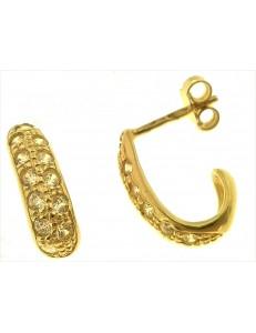 ORECCHINI ORO GIALLO - Orecchini Donna Oro Giallo 18 kt Carati Ct 750 3,80 Gr Zirconi Taglio Brillante