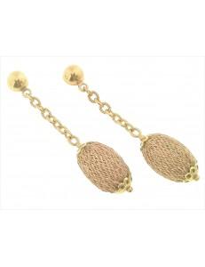 ORECCHINI ORO GIALLO - Orecchini  Donna Oro Giallo 18 Kt Carati Ct 750 Gr 7,50 Pendenti
