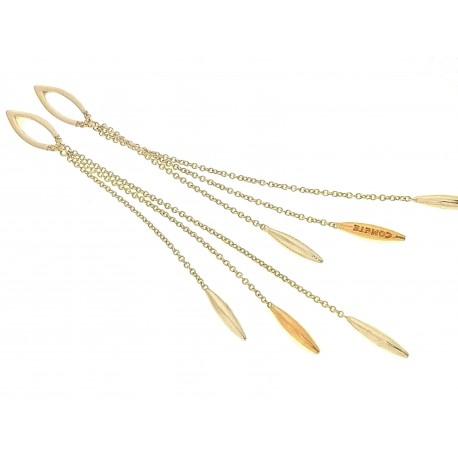 ORECCHINI DIAMANTI - Orecchini Donna Pendenti Diamanti 0,03 Carati Oro Bianco Giallo 18 Kt 750 Comete