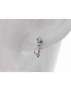 ORECCHINI DIAMANTI - Orecchini Donna Diamanti Oro Bianco 18 kt Carati 750 2,0 Gr 0,11 Ct
