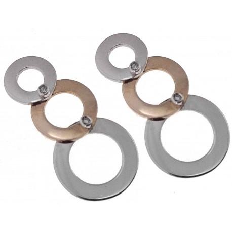 ORECCHINI DIAMANTI - Orecchini Donna Diamanti Oro Bianco E Giallo 18 kt Carati 750 4,10 0,02 Ct