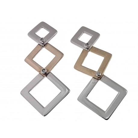 ORECCHINI DIAMANTI - 390,Orecchini Donna Diamanti Oro Bianco E Rosso 18 kt Carati 750 5,10 Gr 0,02 Ct