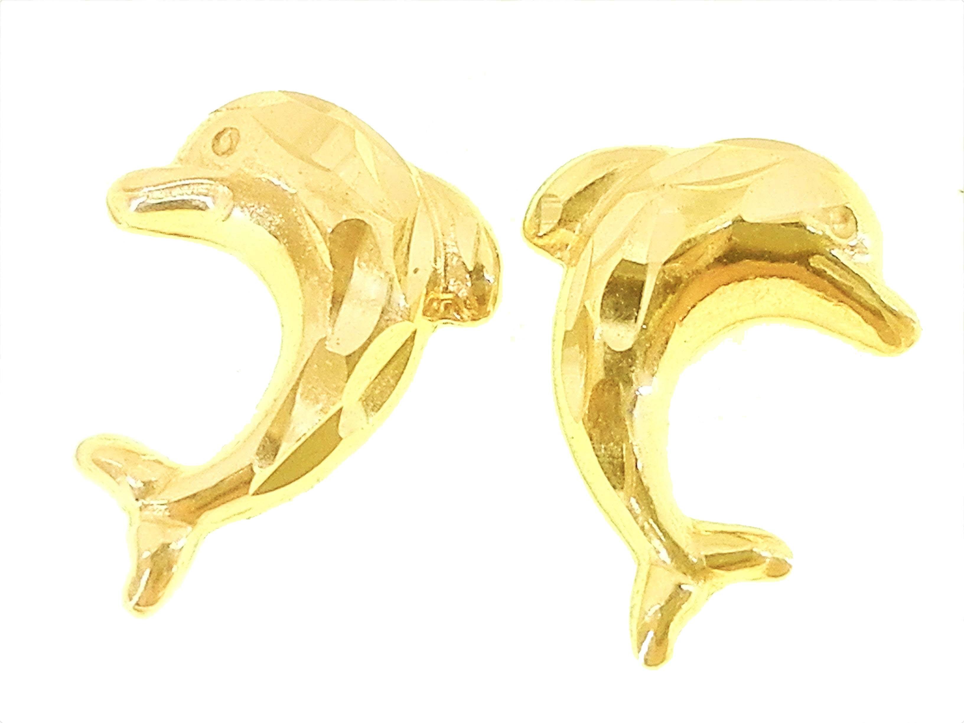 Orecchini Donna Bimba Bambina Oro Giallo 18 kt Carati Ct 750 1,05 Gr Delfini  - Gioielleria Arte Oro