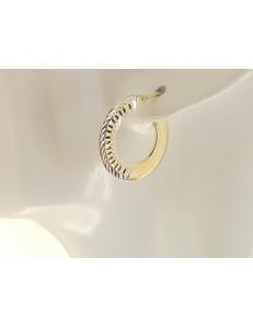 ORECCHINI CERCHIO GIALLI - Orecchini Donna Cerchio Cerchi Oro Giallo Bianco 18 kt Carati Ct 750 2,05 Gr