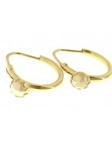 Orecchini Perle Bimba Bambina Cerchio Oro Giallo 18 kt Carati Ct 750 1,55 Gr